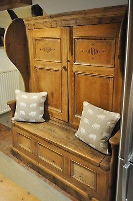 Antique pine settle bench with storage.