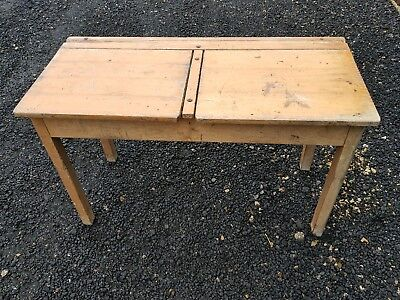 vintage double school desk side table coffee table ect old pine