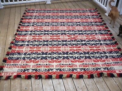 N. EMAUS pa 1840  Antique  Jacquard Coverlet  Woven T. Weber