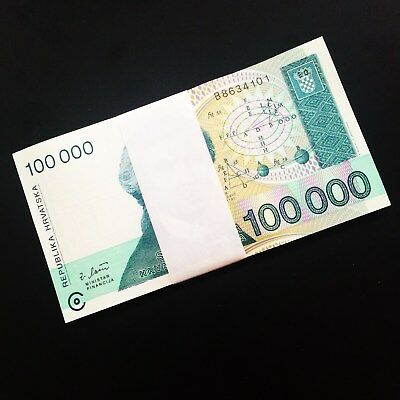 Uncirculated Brand New Set of 100 Authentic Crotia Bills - 100,000 Dinars