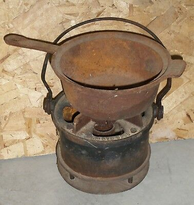 Antique Vintage 2 Piece Cast Iron Lamp Stove Cooker Portable Small -Rusty  *RARE