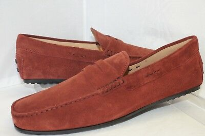 da35130e00f New Tod s Mocassino City Gommi Loafers Shoes Drivers Size 11 Red Sued