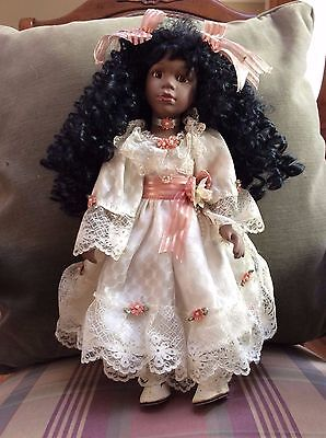 """African American Porcelain Doll #9752 16"""""""