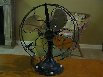 "Vintage 10"" Century Oscillating Electric Fan With Brass Blades - Rewired"