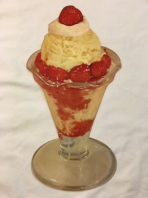 Vtg Advertising Litho Sign Ice Cream Parlor Strawberry Sundae Parfait Glass