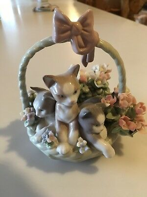 Lladro Purfect Basket of Kittens Signed And Dated Original Box #01444