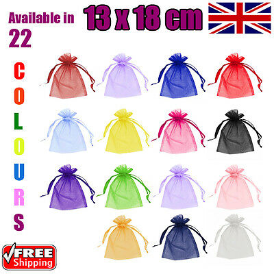 13 x 18 cm Organza Gift Pouch Wedding Favour Bags Jewellery Pouch in 23 Colours!