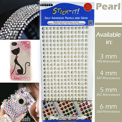 Pearl Self Adhesive Clear Diamante Stick On Crystal Sticky Rhinestone Gems Beads