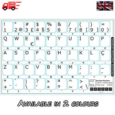 Portuguese Traditional White Keyboard Stickers with White Letters LaptopComputer