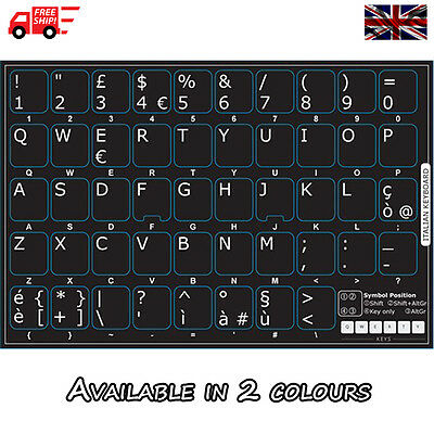 Italian Non-Transparent Keyboard Stickers Computer Laptop PC in 2 Colours!