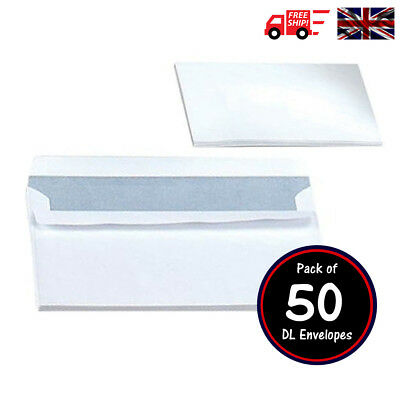 50 x White NO Window Self Seal High Quality Opaque DL Business Envelopes 90 gsm