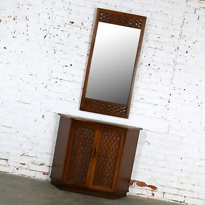 MCM Entry Console Cabinet and Mirror Basket Weave Style of Lane Perception by Wa