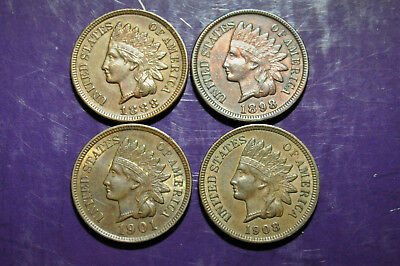 Lot of 4 AU/BU Indians 1888 1898 1901 1908 High Grade Coins!