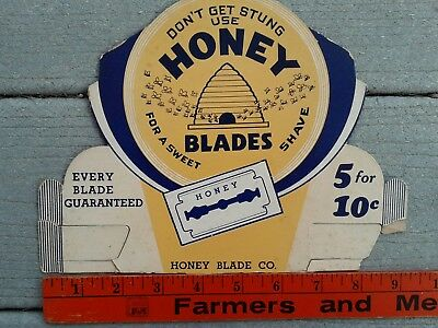 Vtg Honey Safety Razor Blades Store Counter Display St Louis MO 1920's? Bee Hive