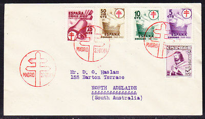 Spain 1949 Anti T.B. First Day Cover to North Adelaide