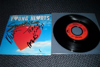 "SMOKIE: Young Hearts - 7"" Single 1989, Hülle 3fach SIGNIERT, u.a Terry Uttley!"