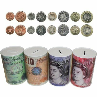 Money Tin Can Box With Printed Piggy Bank Note For Saving Cash £5 £10 £20 £50