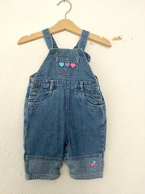 Vintage Kids Baby 90s Next Balloons Kitsch Novelty  Denim Blue Dungarees 0-3M