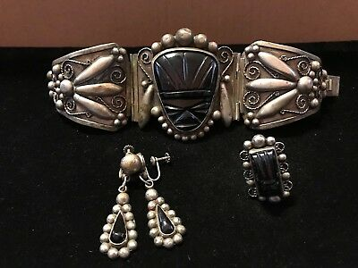 Huge Vintage Mexican Silver Onyx  Aztec Face Bracelet, Ring & Earring Set Tribal