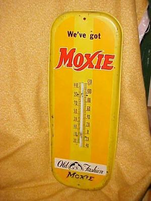 Vintage Metal Tin MOXIE THERMOMETER Soda Beverage Advertising Sign Nice!
