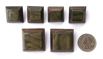 VTG Lot of 6 Square Wood & Bakelite Buttons Brown Butterscotch Masculine Wooden