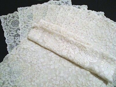 Antique French Alencon Lace 12 Placemats & Table Runner Ecru Flowers Scalloping