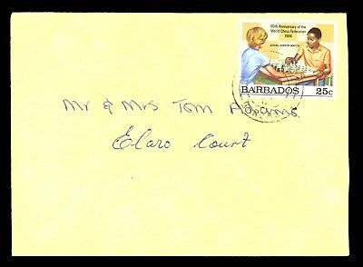 1980s Barbados Stamp Cover Playing Chess Game World Chess Federation B23