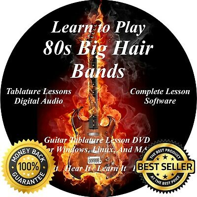80 BIG HAIR 80s Rock Bands 2524+ Guitar & Bass Tabs Software Lesson CD +  139 BTs
