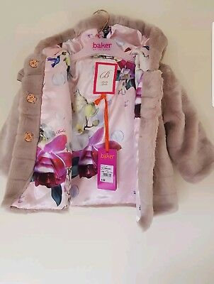 Ted Baker Baby Girls Faux Fur Coat / Jacket with sizes. Designer.