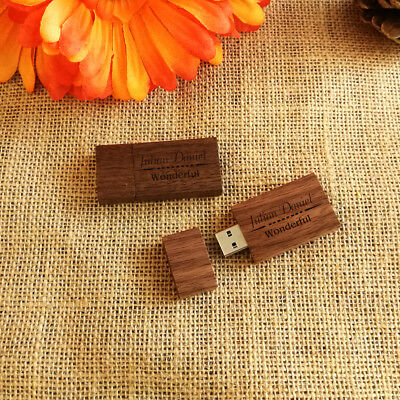 Custom Walnut Wood USB Flash Drive Add Your Texts or Name on USB, Wedding USB