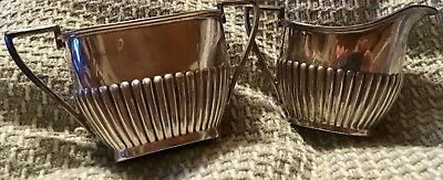 Walker and Hall Sheffield Silverplate ribbed Sugar & Creamer gorgeous
