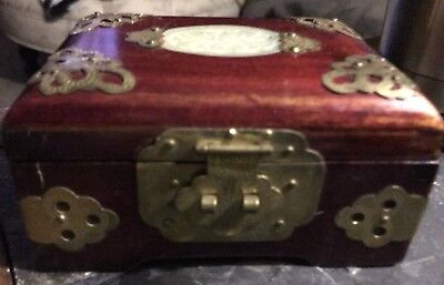 Vintage 1930's Chinese Brass & Wood Jewelry Box Jade Insert lockable