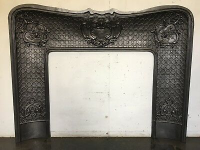 Restored Antique Cast Iron French Louis 37⅜ X 47¾ Insert Marble Fireplace TA297