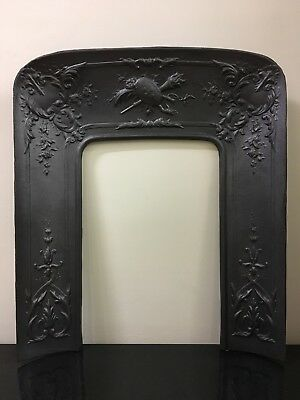 Restored Antique Cast Iron French Louis 33¾ X 29 Insert Marble Fireplace (TA437)