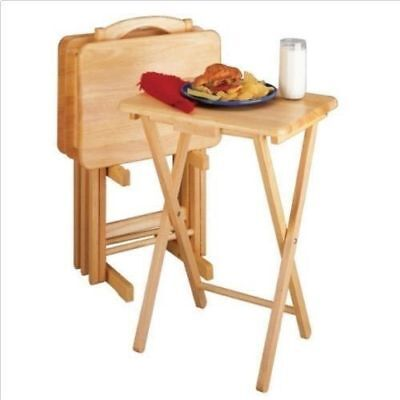 Charmant 5 PIECE TRAY TABLE SET Wooden TV Card Game Laptop Snack Craft Dinner  Serving NEW