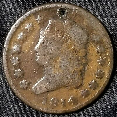 1814 Classic Head Large Cent S-295 Plain 4 Holed Nice Coin For Your Collection