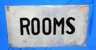 """Antique Glass ROOMS Sign 9 3/4"""" x 18 1/4"""" Take a LOOK !!!"""
