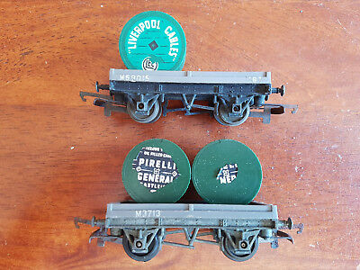 Triang R18 Cable Drum Wagons X 2 Good Condition Unboxed Oo Gauge(Ch32)