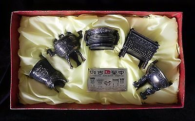 CHINESE ANCIENT TRIPOD SET 5 Reproductions in Box