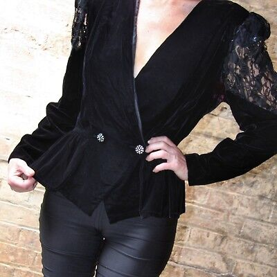 Vintage Young Edwardian black velvet jacket with peplum GC RARE goth emo punk