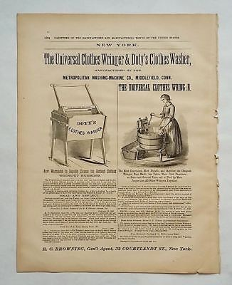 1866 Advertisement Universal Clothes Wringer & Doty's Clothes Washer