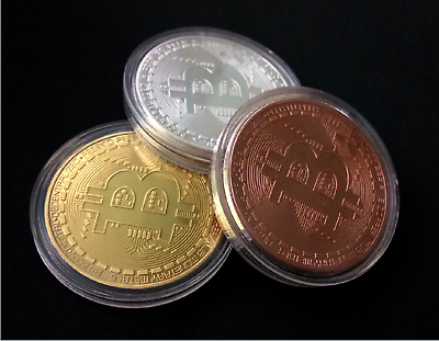 BITCOIN!! Gold Plated Physical Bitcoin in protective acrylic case New