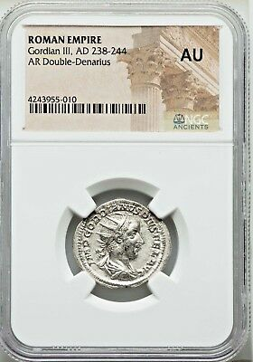 NGC AU. Gordian III. Double-Denarius. Exquisite Ancient Roman Silver Coin.