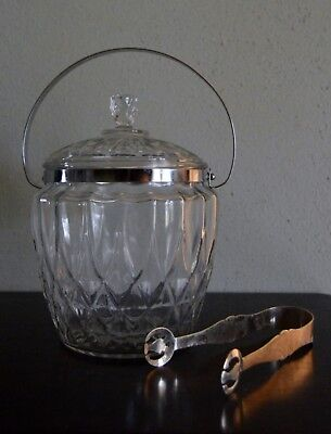 Vintage Cut Glass Ice Bucket, With Lid and Handle