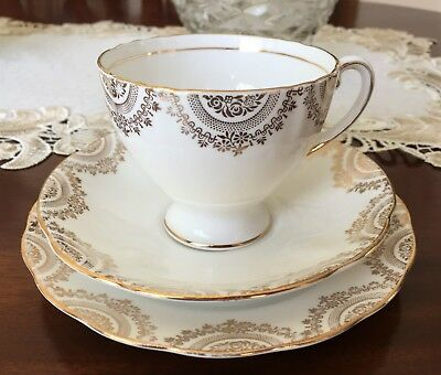 Vintage Royal Standard England Bone China White & Gold Patterned Trio C1949+