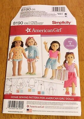 SIMPLICITY Pattern #8190  Doll Clothing for 18 Inch Dolls - New - Summer Outfits