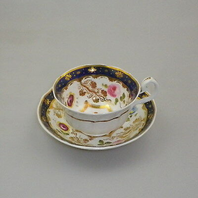 Antique 19th Century Staffordshire Hand Painted Cup and Saucer
