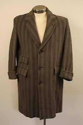 Medium / Large Original Vintage Mens Long Grey Heavy Wool Coat.