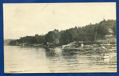 Boothbay Harbor View Maine me real photo postcard RPPC Dead Post Office 1920s