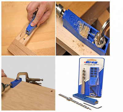 Mini Kreg Jig Kit Woodworking Pocket Hole Joinery Step Drill Bit Allen Wrench